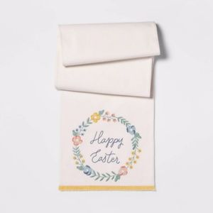 Threshold Happy Easter table runner floral wreath
